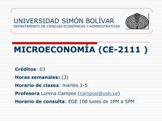 UNIVERSIDAD SIMÓN BOLÍVAR DEPARTAMENTO DE CIENCIAS ECONÓMICAS Y ADMINISTRATIVAS