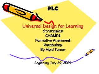 PLC Universal Design for Learning Strategies : CHAMPS Formative Assessment Vocabulary