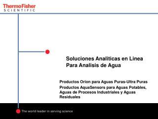 Soluciones Analiticas en Linea Para Analisis de Agua