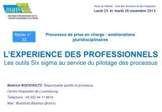 L'EXPERIENCE DES PROFESSIONNELS Les outils Six sigma au service du pilotage des processus
