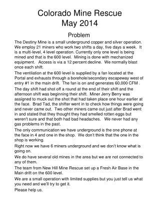 Colorado Mine Rescue  May 2014