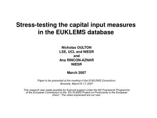 Stress-testing the capital input measures  in the EUKLEMS database