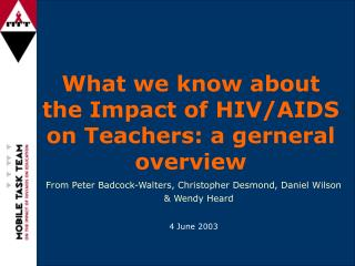 What we know about the Impact of HIV/AIDS on Teachers: a gerneral overview