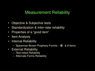 Measurement Reliability