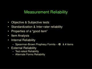 Measurement Reliability