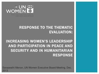 Saraswathi  Menon, UN Women Executive Board Meeting, Dec. 2013