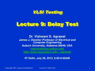 VLSI Testing Lecture 9: Delay Test