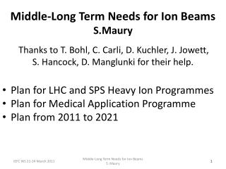Plan for LHC and SPS Heavy Ion Programmes Plan for Medical Application Programme