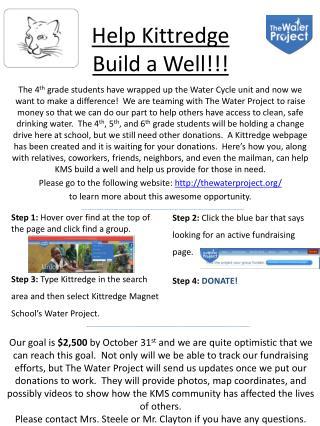 Help Kittredge  Build  a Well!!!
