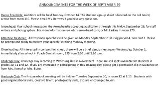 ANNOUNCEMENTS FOR THE WEEK OF SEPTEMBER 29