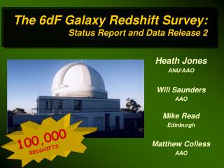 The 6dF Galaxy Redshift Survey: Status Report and Data Release 2