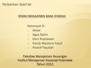 Risiko Manajemen  bank  syariah