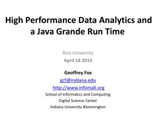 High Performance Data  Analytics and a Java Grande Run Time