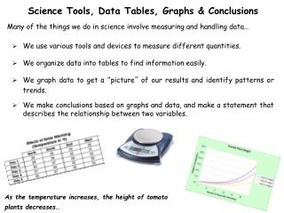 Science Tools, Data  Tables, Graphs & Conclusions