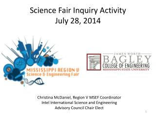 Science Fair Inquiry Activity July 28, 2014