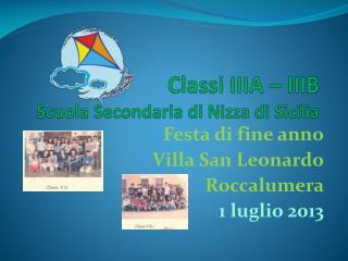Classi IIIA – IIIB Scuola Secondaria di Nizza di Sicilia