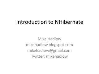 Introduction to  NHibernate