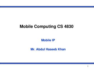 Mobile Computing CS 4830