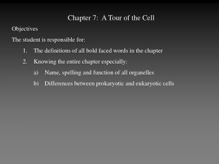 Chapter 7:  A Tour of the Cell