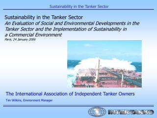 Sustainability in the Tanker Sector