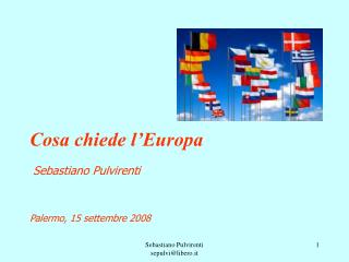 Cosa chiede l'Europa Sebastiano Pulvirenti Palermo, 15 settembre 2008