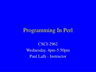 Programming In Perl
