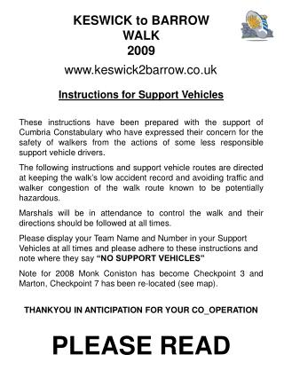 Instructions for Support Vehicles