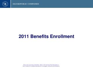 2011 Benefits Enrollment