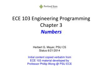 ECE 103 Engineering Programming Chapter 3 Numbers