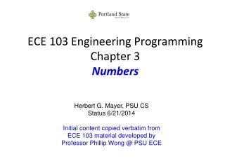 ECE 103 Engineering Programming Chapter 3 Numbers