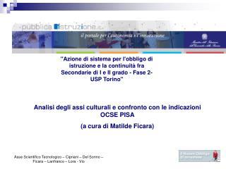 Azione di sistema per lobbligo di istruzione e la continuit  fra Secondarie di I e II grado - Fase 2- USP Torino