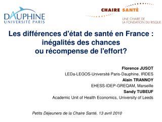 Les diff rences d tat de sant  en France : in galit s des chances  ou r compense de leffort