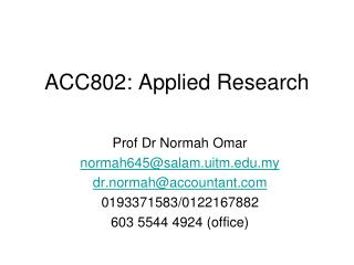 ACC802: Applied Research
