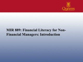 MIR 889: Financial Literacy for Non-Financial Managers: Introduction