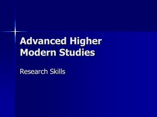 Advanced Higher Modern Studies