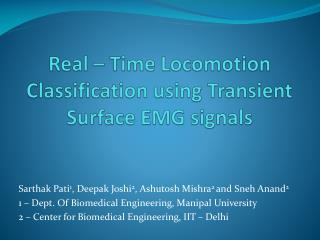 Real � Time Locomotion Classification using Transient  Surface EMG signals