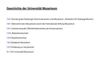 Geschichte der Universität Mozarteum