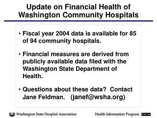 Update on Financial Health of Washington Community Hospitals