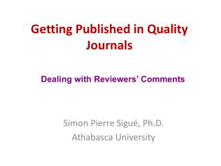 Getting Published in Quality Journals