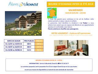 BOURSE D'ECHANGE INTER CE ÉTÉ  2014