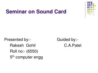 Seminar on Sound Card