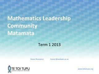 Mathematics Leadership Community Matamata