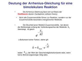 Deutung der Arrhenius-Gleichung für eine bimolekulare Reaktion