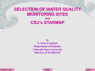 SELECTION OF WATER QUALITY MONITORING SITES and CSU's STARMAP