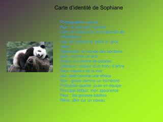 Carte d�identit� de Sophiane
