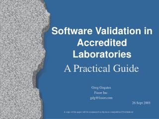 Software Validation in Accredited Laboratories