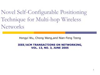 Novel Self-Configurable Positioning Technique for Multi-hop Wireless Networks