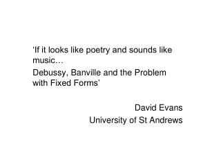 'If it looks like poetry and sounds like music…