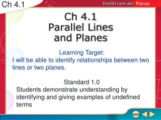 Ch 4.1 Parallel Lines and Planes
