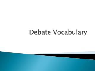 Debate Vocabulary